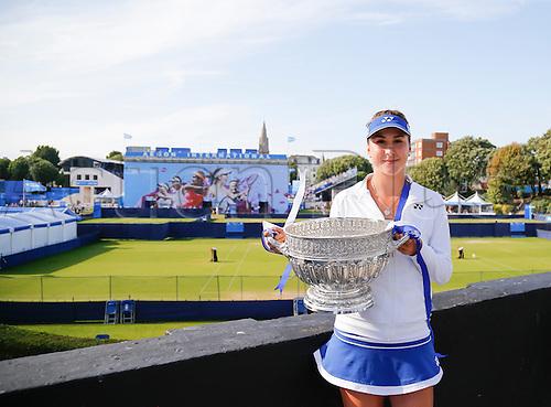 27.06.2015 Eastbourne, England. Aegon International Eastbourne Tennis Tournament Belinda Bencic (SUI) with her winners trophy after winning her Women's single final against Radwansk  at Devonshire park.