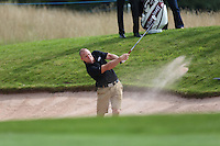 Rugby legend Mike Tindall (ENG) plays out of the bunker during the Pro-Am Day at the 2013 ISPS Handa Wales Open from the Celtic Manor Resort, Newport, Wales. Picture:  David Lloyd / www.golffile.ie