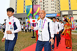 (L-R) Mitsugi Ogata,  Koji Ueno (JPN), <br /> AUGUST 16, 2018 : Welcome Ceremony for the Japanese delegation at Athlete's Village during the 2018 Jakarta Palembang Asian Games in Jakarta, Indonesia. (Photo by MATSUO.K/AFLO SPORT)