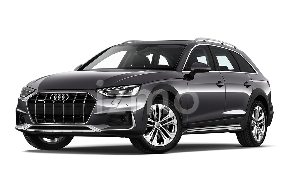 Stock pictures of low aggressive front three quarter view of a 2020 Audi A4-Allord Base 5 Door Wagon