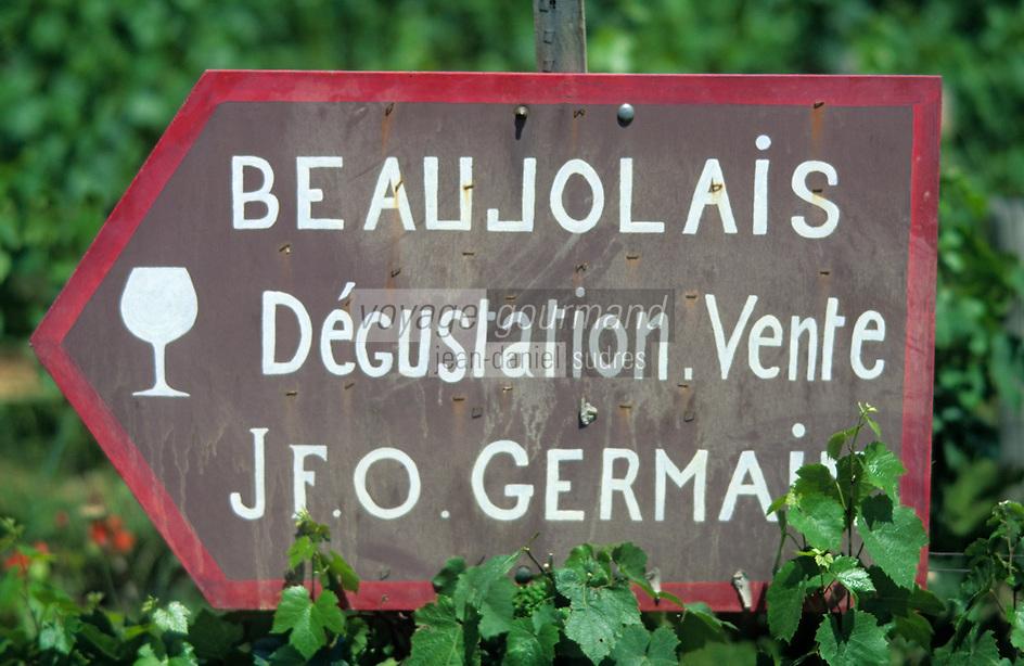 Europe/France/Rhône-Alpes/69/Rhône/Env Charnay: Panneau de vigneron