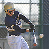 Fred Lucas #6, Baldwin third baseman, connects for his second double of the afternoon in the top of the fifth inning of a Nassau County varsity baseball game against host Plainview JFK High School on Monday, May 8, 2017. He went 3-4 with a walk and three runs scored in Baldwin's 8-3 win.