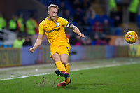 Tom Clarke of Preston North End crosses during the Sky Bet Championship match between Cardiff City and Preston North End at the Cardiff City Stadium, Cardiff, Wales on 29 December 2017. Photo by Mark  Hawkins / PRiME Media Images.