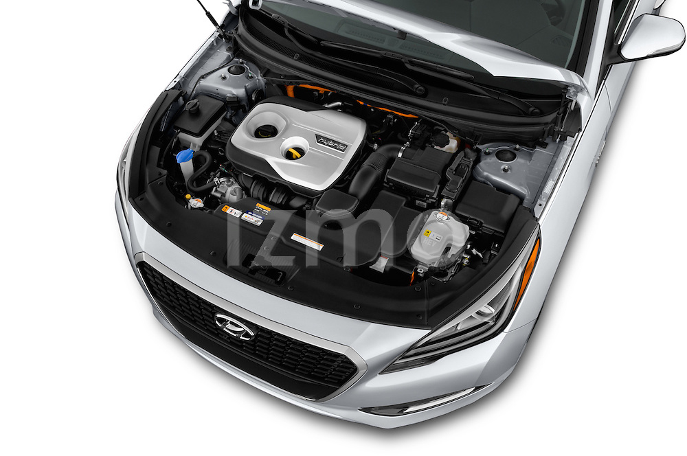 Car Stock 2017 Hyundai Sonata-Hybrid Hybrid 4 Door Sedan Engine  high angle detail view