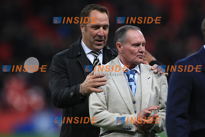 David Seaman and Paul Gascoigne on the pitch at half time during the UEFA Euro 2020 Qualifying Group A match between England and Montenegro at Wembley Stadium on November 14th 2019 in London, England. (Photo by Matt Bradshaw/phcimages.com)<br /> Foto PHC Images / Insidefoto <br /> ITALY ONLY