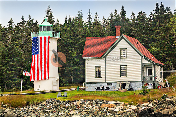 Little River Lighthouse built in 1876, decorated for Fourth of July in Cutler Harbor, Maine