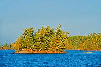 Island in Lake of the Woods at sunrise<br />