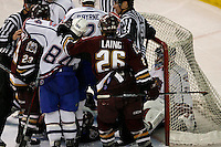 Jun 7, 2007; Hamilton, ON, CAN; Hershey Bears and Hamilton Bulldogs players scuffle while goalie (29) Carey Price sits in the net after Bears center (12) Alexandre Giroux slid into him during the third period of game five of the Calder Cup finals at Copps Coliseum in Hamilton, ON. The Bulldogs defeated the Bears 2-1 to win the Calder Cup. Mandatory Credit: Ron Scheffler