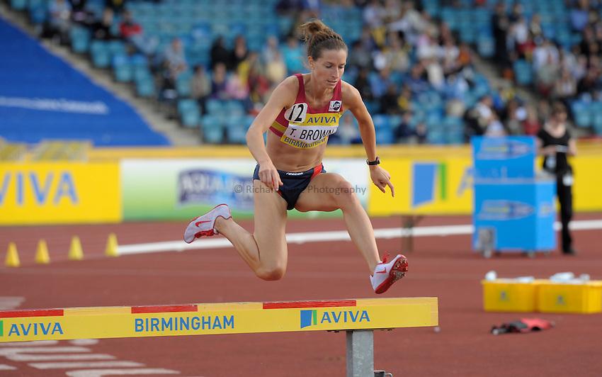 Photo: Ady Kerry/Richard Lane Photography..Aviva World Trials & UK Championships athletics. 12/07/2009. .Tina Brown 3000m steeplechase