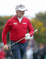 Friday 29th May 2015; Darren Clarke, Northern Ireland, screams at his ball<br /> <br /> Dubai Duty Free Irish Open Golf Championship 2015, Round 2 County Down Golf Club, Co. Down. Picture credit: John Dickson / SPORTSFILE