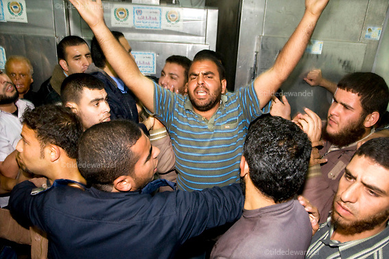 2010 December 2 - Beitlahya - Gaza.<br /> Arrival of the bodies of two Islamic Jihad militants, killed by the Israeli army, along the Gaza-Israel border fence, at Kamal Odwan Hospital, Beitlahya.