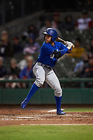 Rancho Cucamonga Quakes right fielder Saige Jenco (9) at bat during a California League game against the Stockton Ports at Banner Island Ballpark on May 16, 2018 in Stockton, California. Rancho Cucamonga defeated Stockton 6-3. (Zachary Lucy/Four Seam Images)