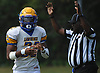 Chris Collier #22, Lawrence running back, reacts after rushing for a touchdown signaled by official Al Jackson in the first quarter of a Nassau County Conference III varsity football game against host Roosevelt High School on Saturday, Sept. 16, 2017.