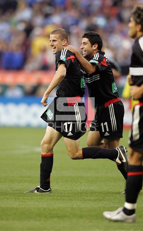 7 May 2005. DC United's Joshua Gros (17) celebrates his goal with Alecko Eskandarian (11)  at RFK Stadium in Washington, DC.
