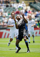June 20, 2009:  Ryan Johnson of Earthquakes tries to slow down the ball during a game at Coliseum in Oakland, California. San Jose Earthquakes defeated Los Angeles, 2-1.