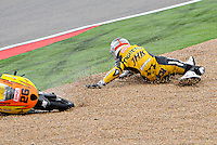 Spanish rider Adrian Martin have an accident during the free practice 1 at The Grand Prix Aragon 2012