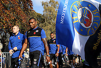 Semesa Rokoduguni of Bath Rugby makes his way through a tunnel of supporters prior to the match. Aviva Premiership match, between Bath Rugby and Harlequins on October 31, 2015 at the Recreation Ground in Bath, England. Photo by: Alex Davidson / JMP for Onside Images