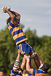 J. Calcagae takes lineout ball. CMRFU Counties Power Premier Club Rugby game between Patumahoe & Pukekohe played at Patumahoe on April 12th, 2008..The halftime score was 10 all with Pukekohe going on to win 23 - 18.