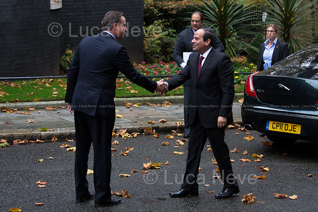 London, 05/11/2015. The President of the Arab Republic of Egypt Abdel Fattah el-Sisi (commonly known as Sisi), meets the British Prime Minister David Cameron at 10 Downing Street during his visit to the UK.