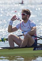 Brandenburg. GERMANY. GBR M2X, Jonny WALTON. thorows the empty bottle. 2016 European Rowing Championships at the Regattastrecke Beetzsee<br /> <br /> Friday  06/05/2016<br /> <br /> [Mandatory Credit; Peter SPURRIER/Intersport-images]