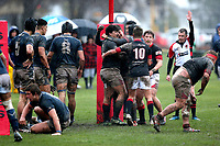 Action from the UC Championship 1st XV rugby match between St Bede's College and St Andrew's College at St Bede's in Christchurch, New Zealand on Saturday, 10 August 2019. Photo: Martin Hunter / lintottphoto.co.nz