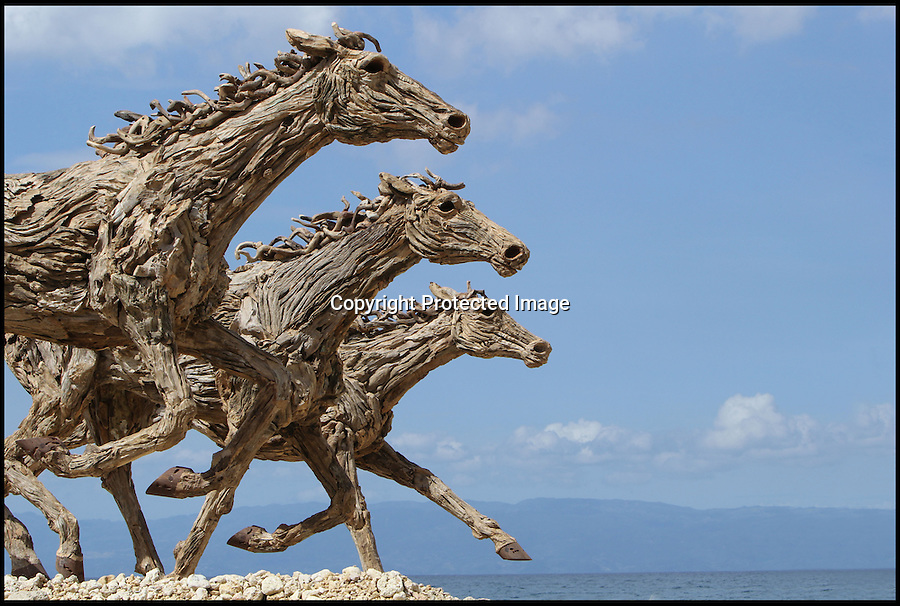 BNPS.co.uk (01202 558833)<br /> Pic: JamesDoran-Webb/BNPS<br /> <br /> ****Please use full byline****<br /> <br /> Three horses lined up on Cebu beach, Philippines.<br /> <br /> These majestic horses galloping along a white sand beach may look real - but in fact they're made from thousands of pieces of driftwood salvaged from beach.<br /> <br /> The life-size sculptures are the work of British master craftsman James Doran-Webb and took a painstaking six months to assemble.<br /> <br /> They stand at around 6ft tall - or 16 hands in horse terms - and each is made from 400 pieces of driftwood of varying sizes built around a stainless steel skeleton.<br /> <br /> They weigh half a tonne each once complete and can take the weight of five people.<br /> <br /> James cleverly makes them with moveable limbs so they can be arranged into lifelike poses.<br /> <br /> The intricate trio of horses were constructed for the Gardens by the Bay in Singapore, a nature park similar to Cornwall's Eden project.