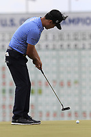 Kevin Na (USA) putts on the 18th green during Saturday's Round 3 of the 117th U.S. Open Championship 2017 held at Erin Hills, Erin, Wisconsin, USA. 17th June 2017.<br /> Picture: Eoin Clarke | Golffile<br /> <br /> <br /> All photos usage must carry mandatory copyright credit (&copy; Golffile | Eoin Clarke)