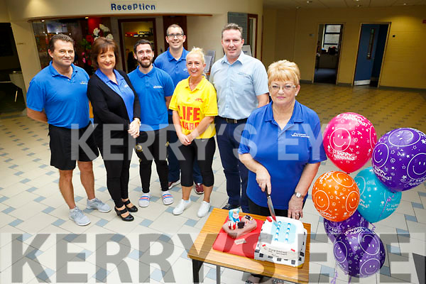 Helen McSweeney, retiring after 29 1/2 years service at Tralee Sports Complex, celebrating with work colleague on Tuesday. Pictured John Dowling, Fiona Kelly, Patrick Fitzgibbon, Kieran O Flaherty, Celina Finn, Finbar Griffin, General Manager,