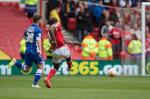 02.05.2015.  Nottingham, England. Skybet Championship. Nottingham Forest versus Cardiff. Nottingham Forest midfielder Michail Antonio takes a shot at goal.