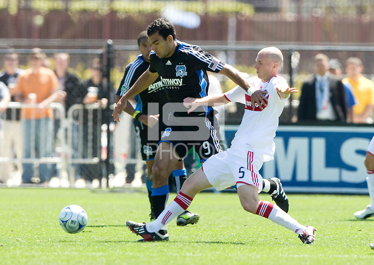 April 11, 2009:  Tim Ward of Fire and Pablo Campos of Earthquakes in action at Buck Shaw Stadium in Santa Clara, California. San Jose Earthquakes and Chicago Fire tied, 3-3