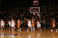 22 December 2007: Kayla Pedersen, Rosalyn Gold-Onwude, Jayne Appel, Candice Wiggins, and Jeanette Pohlen celebrate after Stanford's 73-69 win over Tennessee at Maples Pavilion in Stanford, CA.