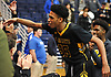 Tyrone Lyons #35 of St. Anthony's celebrates with Friars fans after the team's 63-30 win over Chamiande in the NSCHSAA varsity boys basketball final at Hofstra University on Tuesday, Feb. 27, 2018. He recorded 11 points and 11 rebounds.