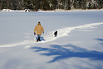Man and his Dog out for a Walk on a Snow Covered Lake