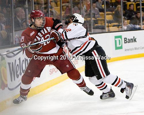 Brendan Rempel (Harvard - 42), Greg Costa (NU - 22) - The Northeastern University Huskies defeated the Harvard University Crimson 4-1 (EN) on Monday, February 8, 2010, at the TD Garden in Boston, Massachusetts, in the 2010 Beanpot consolation game.