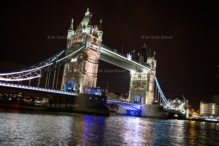 The Tower Bridge stands above the River Thames in London, England.