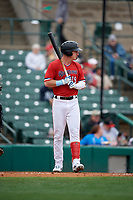 Rochester Red Wings Brent Rooker (19) bats during an International League game against the Charlotte Knights on June 16, 2019 at Frontier Field in Rochester, New York.  Rochester defeated Charlotte 11-5 in the first game of a doubleheader that was a continuation of a game postponed the day prior due to inclement weather.  (Mike Janes/Four Seam Images)