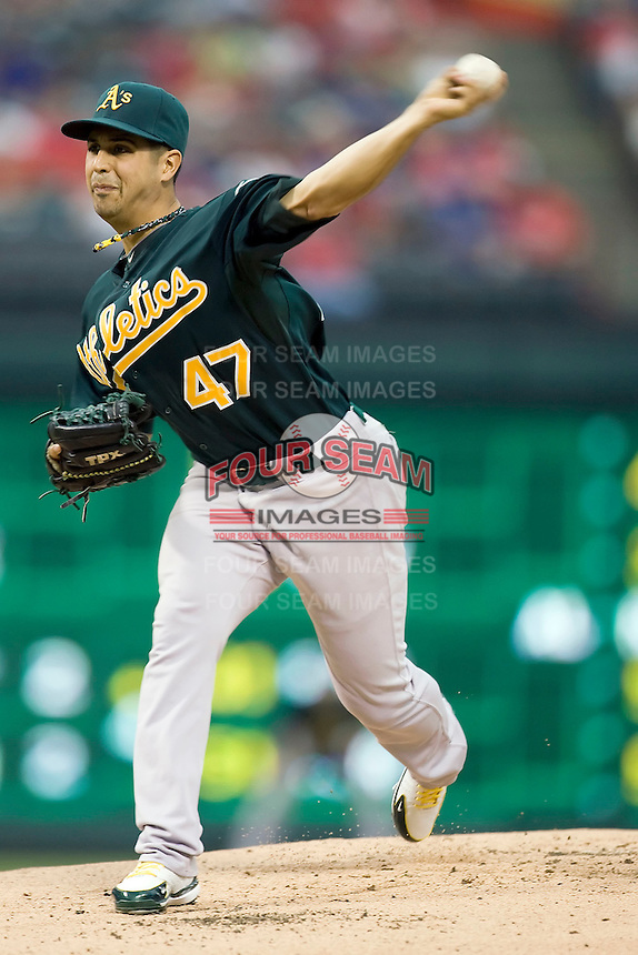 Oakland Athletics starting pitcher Gio Gonzalez (47) delivers against the Texas Rangers in American League baseball on May 11, 2011 at the Rangers Ballpark in Arlington, Texas. (Photo by Andrew Woolley / Four Seam Images)