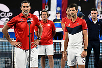 12th January 2020; Sydney Olympic Park Tennis Centre, Sydney, New South Wales, Australia; ATP Cup Australia, Sydney, Day 10; Serbia versus Spain; Nenad Zimonjic captain of Team Serbia and Novak Djokovic make a speech after Team Serbia defeat Team Spain to win the ATP Cup - Editorial Use