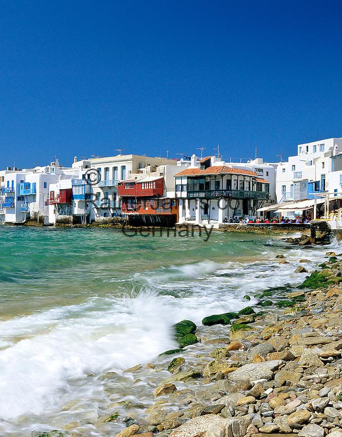 Greece, Cyclades, Mykonos: Little Venice Quarter | Griechenland, Kykladen, Mykonos: Klein Venedig