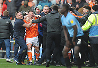 Blackpool's Jordan Thompson celebrates his side's equalising goal to make the score 2-2 with fans invading the pitch<br /> <br /> Photographer Kevin Barnes/CameraSport<br /> <br /> The EFL Sky Bet League One - Blackpool v Southend United - Saturday 9th March 2019 - Bloomfield Road - Blackpool<br /> <br /> World Copyright © 2019 CameraSport. All rights reserved. 43 Linden Ave. Countesthorpe. Leicester. England. LE8 5PG - Tel: +44 (0) 116 277 4147 - admin@camerasport.com - www.camerasport.com