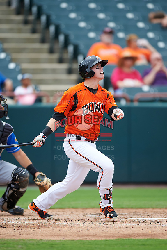 Bowie Baysox designated hitter Chance Sisco (12) at bat during the first game of a doubleheader against the Akron RubberDucks on June 5, 2016 at Prince George's Stadium in Bowie, Maryland.  Bowie defeated Akron 6-0.  (Mike Janes/Four Seam Images)