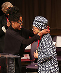 Charlayne Woodard and Micki Grant on stage at the The Lilly Awards  at Playwrights Horizons on May 22, 2017 in New York City.