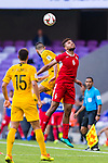 Saeed Almurjan of Jordan (R) fights for the ball with Aziz Behich of Australia during the AFC Asian Cup UAE 2019 Group B match between Australia (AUS) and Jordan (JOR) at Hazza Bin Zayed Stadium on 06 January 2019 in Al Ain, United Arab Emirates. Photo by Marcio Rodrigo Machado / Power Sport Images