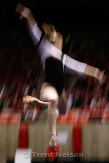 Trent Nelson  |  The Salt Lake Tribune.Salt Lake City - Utah vs. BYU college gymnastics Friday, March 26, 2010. Utah's Annie DiLuzio on floor
