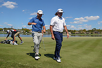 Brian Harman (USA) and Pat Perez (USA) depart 6 during round 1 of the Arnold Palmer Invitational at Bay Hill Golf Club, Bay Hill, Florida. 3/7/2019.<br /> Picture: Golffile | Ken Murray<br /> <br /> <br /> All photo usage must carry mandatory copyright credit (&copy; Golffile | Ken Murray)
