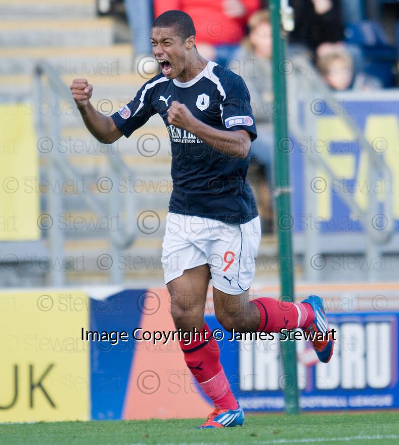 Falkirk's Lyle Taylor celebrates after he scores Falkirk's first goal  ....