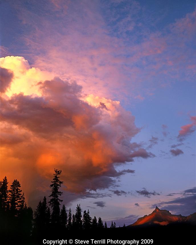 Storm approaching Mt Thielsen in southern cascades Oregon