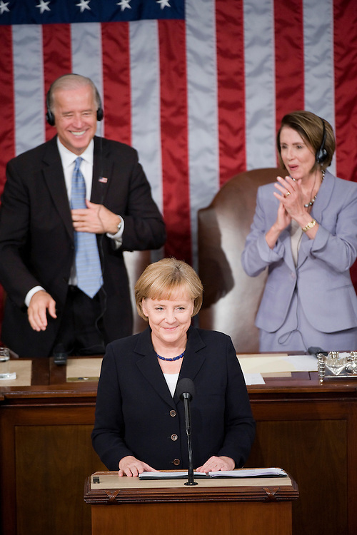 Chancellor of Germany Angela Merkel addresses to a joint session of Congress in the House chamber as Speaker Nancy Pelosi, D-Calif., and Vice President Joe Biden look on, Nov. 3, 2009.