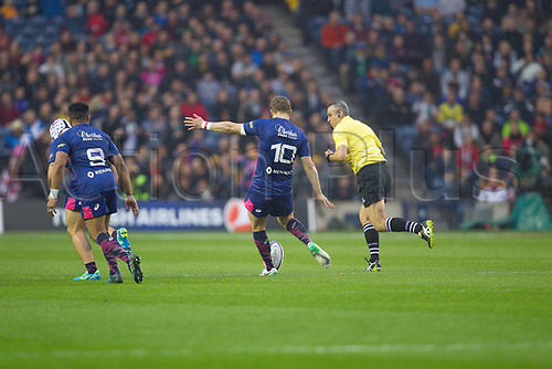May 12th 2017, BT Murrayfield, Edinburgh, Scotland; European Rugby Challenge Cup Final; Gloucester versus Stade Francais;   Jules Plisson (Stade Français) starts the game