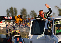 Aug. 16, 2013; Brainerd, MN, USA: NHRA top fuel dragster driver Terry McMillen during qualifying for the Lucas Oil Nationals at Brainerd International Raceway. Mandatory Credit: Mark J. Rebilas-